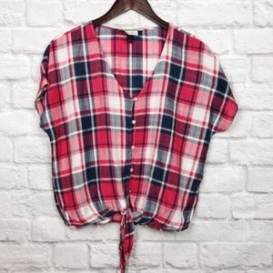Universal Thread Red Plaid Button Up Top Size S